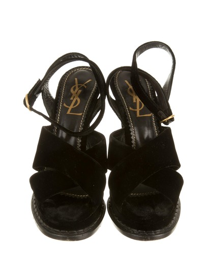 Saint Laurent Velvet Platform Brass Black Sandals Image 2
