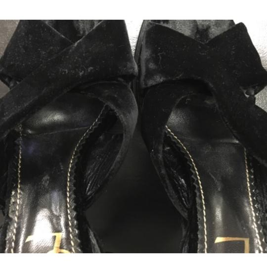 Saint Laurent Velvet Platform Brass Black Sandals Image 9