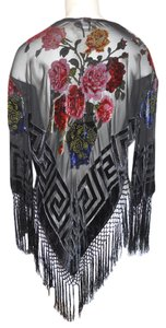 Two Time Sheer Fringe Fringed Velvet Beaded Top black multi