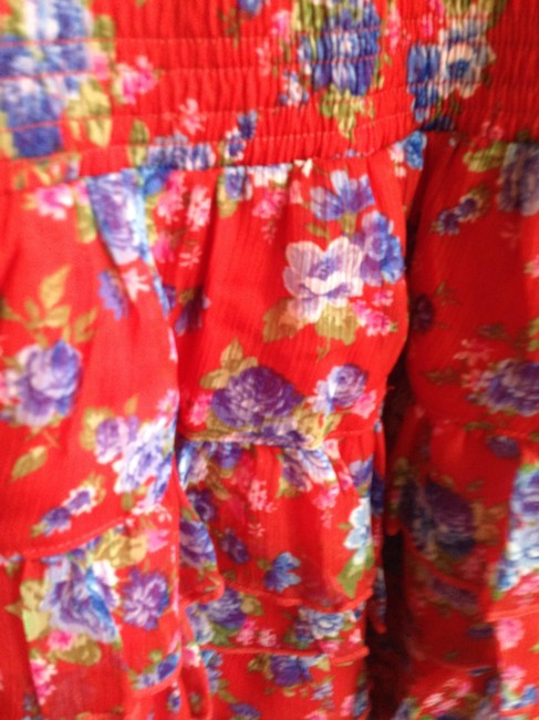 Abercrombie & Fitch short dress Blue and Red Floral Chiffon Print Summer on Tradesy