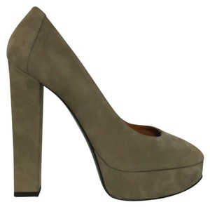 Lanvin Suede Peep Toe Leather Taupe Platforms