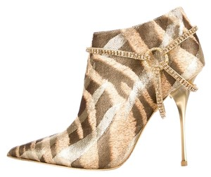 Roberto Cavalli Metallic Striped Pointed Toe Gold Boots