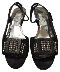 Bally Suede Leather Hardware Buckle Black and Silver Sandals