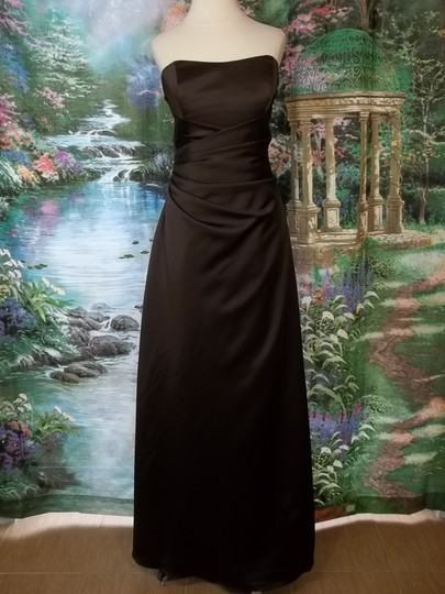 Alfred Angelo Espresso Satin 6493 Formal Bridesmaid/Mob Dress Size 10 (M)