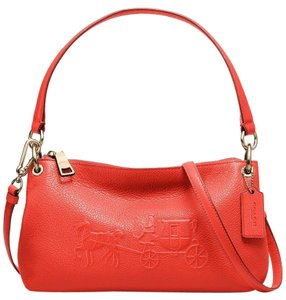Coach Charley Embossed Shoulder Apricot Cross Body Bag