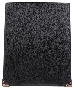 Alexander Wang * Black Prisma Ipad Sleeve In Pebbled Calf With Rose Gold