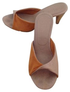 Kristen Michaels Orange and Tan Mules