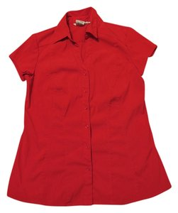 Como Clothing Stretchy Button Down Shirt Red
