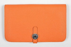Hermès Hermes Togo Capucine Orange Leather Dogon Combo Wallet