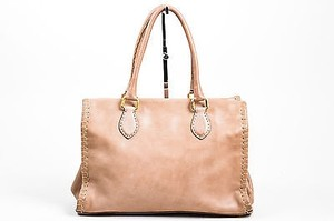 Fendi Leather Firenze Frame Satchel in Taupe