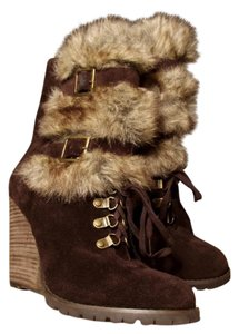 Carlos by Carlos Santana Fabulous Genuine Suede Wedge Brown, Faux Fur Boots