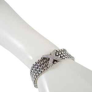 David Yurman David Yurman Sterling Silver 4 Row Box Chain Pave Diamond X Bracelet - Retail $2700