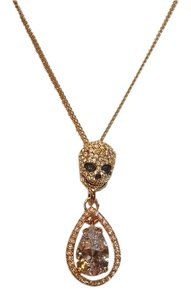 Betsey Johnson Betsey Johnson All That Glitters Gold Tone CZ Skull Double Drop Necklace $45