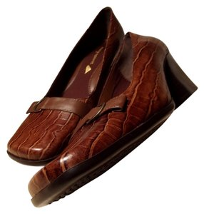 Easy Spirit Genuine Leather Here'n'nows Cognac Moc Croc Pumps