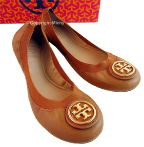 Tory Burch Ballerina Mestico Tan / Dark Maple Flats