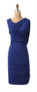 Bordeaux Ruched Draped Flattering Blue Dress