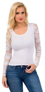 Ambiance Apparel Dressy Lace Sleeves Top White