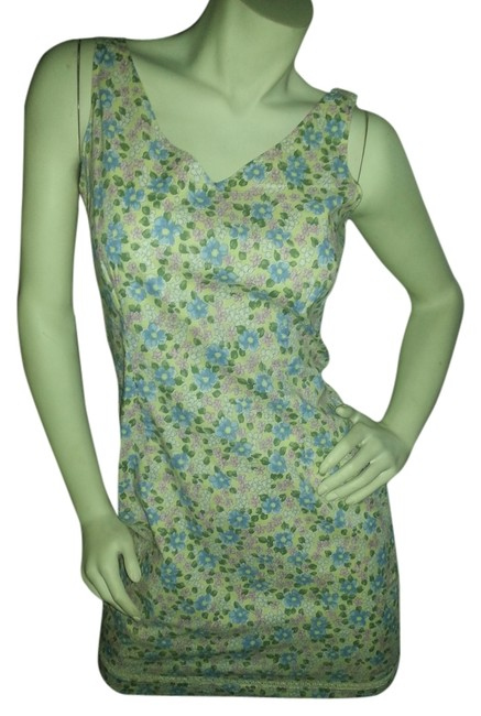 Old Navy short dress Yellow with blue, pink, white and green floral on Tradesy