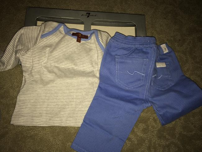 7 For All Mankind 3 piece BOXED 3-6 mo JEANS 6-9 mo TSHIRT AND BIB Image 1