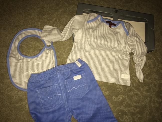 7 For All Mankind 3 piece BOXED 3-6 mo JEANS 6-9 mo TSHIRT AND BIB Image 5