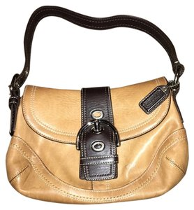 Coach Leather Buckle Two-tone Tan Hobo Bag