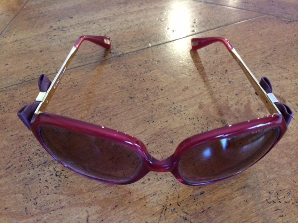 04b6ef94b4d6 Marc Jacobs Red With Leather Bows At The Temple Sunglasses - Tradesy