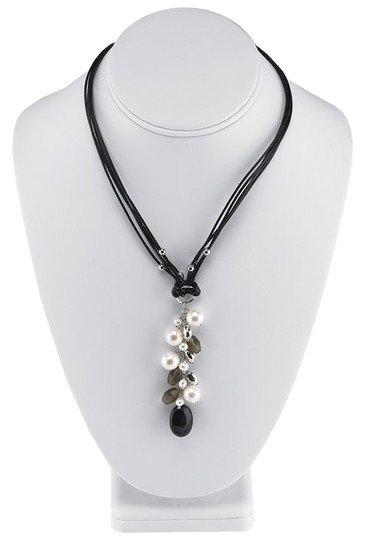 """Other 16"""" Black Cord Necklace with Pearl, Onyx and Smoky Quartz Dangle Pendant by BrianG"""