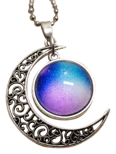 Other Beautiful Galaxy Moon Design Photo Glass Dome Handmade Charm Necklace