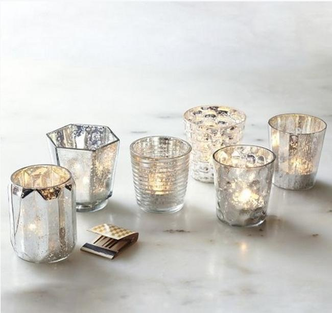 Item - Mercury Glass Silver Votive/Candle