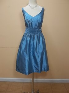Alfred Angelo French Blue Silk 7105 Formal Bridesmaid/Mob Dress Size 14 (L)