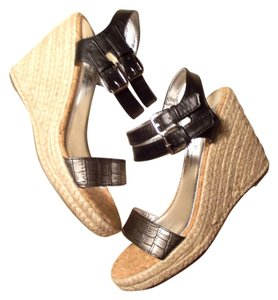 Nicole Miller silver, black and natural jute Platforms