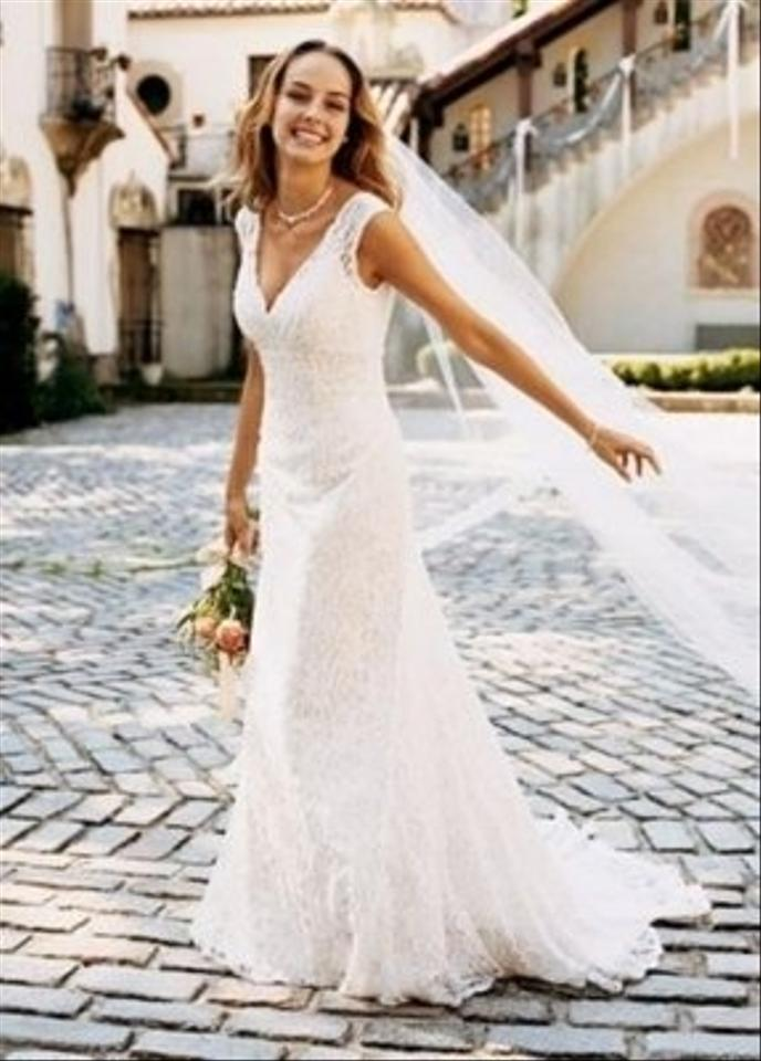David 39 s bridal all over beaded lace trumpet gown style for Wedding dress david bridal