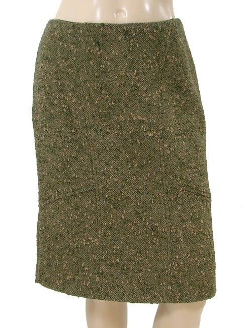 Valentino Boucle Tweed Pencil Woven Winter Skirt Green, Olive Image 2