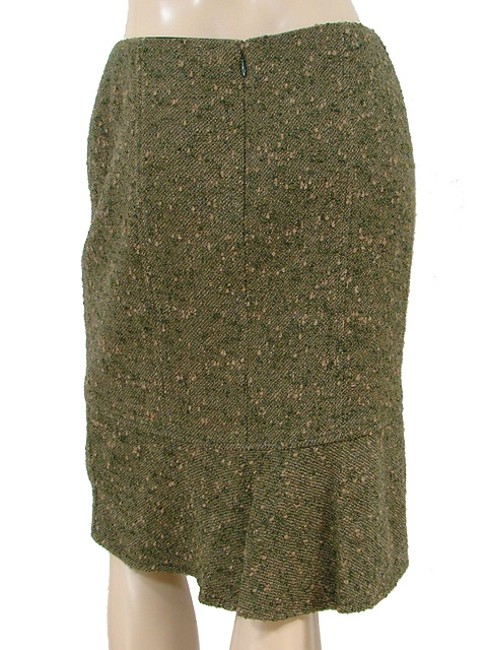 Valentino Boucle Tweed Pencil Woven Winter Skirt Green, Olive Image 3
