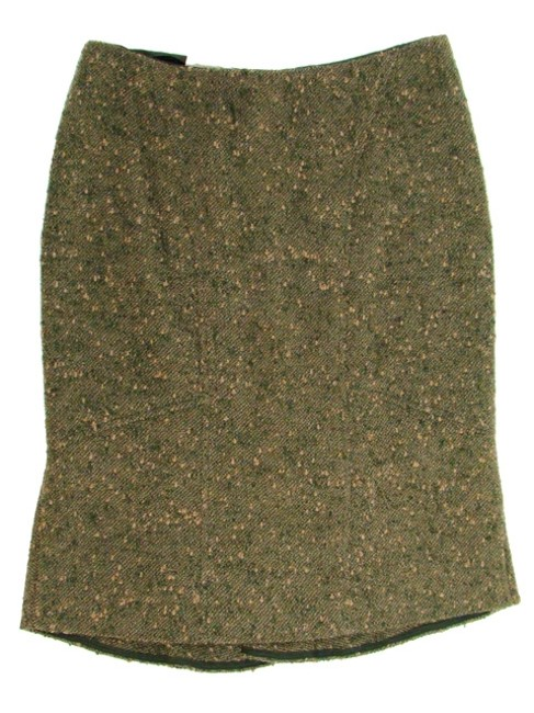 Valentino Boucle Tweed Pencil Woven Winter Skirt Green, Olive
