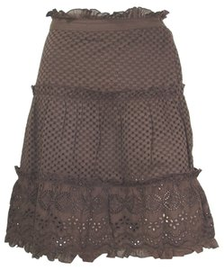 Yesterday Never Dies Eye-let Embroidered Sheer Mesh Ruffle Crochet Tiered Skirt Brown