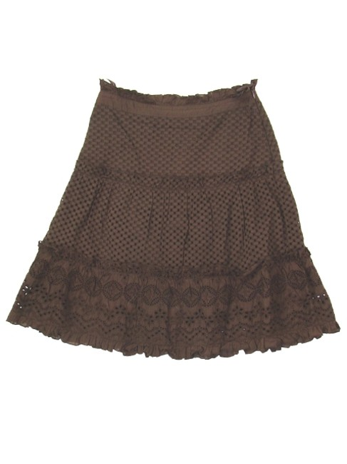 Yesterday Never Dies Cotton Eye-let Embroidered Sheer Mesh Ruffle Crochet Tiered Skirt Brown