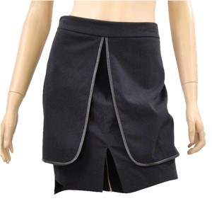 Yigal Azrouel Tiered Layered Mini Drape Draped Mini Skirt Black
