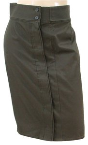 Yves Saint Laurent Cotton Pencil Classic Skirt Brown, Olive