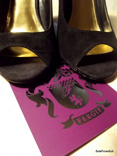 Fergie Brand New Peep-toe Pumps Black & Gold Wedges