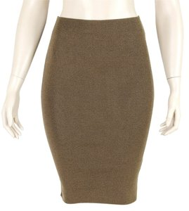 Yves Saint Laurent Stretchy Silk Tube Pencil Ribbed Skirt Brown