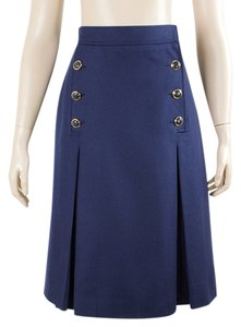 Yves Saint Laurent Pleated A-line Wool Nautical Skirt Blue