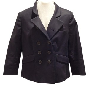 Ann Taylor LOFT Preppy Double Breasted 3/4 Sleeve Black Blazer