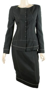 Alberta Ferretti Alberta Ferretti Suit - Black Stitch Trim Skirt Suit