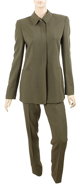 Preload https://item5.tradesy.com/images/calvin-klein-olive-collection-dark-green-wool-crepe-pant-suit-size-4-s-27-1103014-0-0.jpg?width=400&height=650