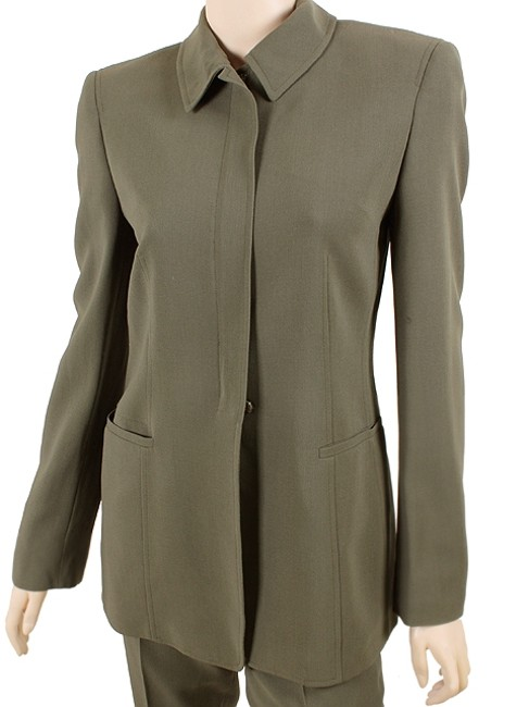 Calvin Klein Calvin Klein Collection Suit - Dark Green Wool Crepe Suit Image 1