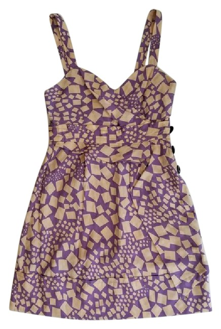 Item - Purple and Peach Confetti Panel Mid-length Short Casual Dress Size 2 (XS)