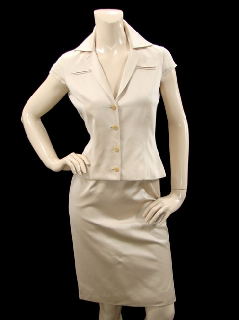 Douglas Hannant Douglas Hannant Suit - Light Sand Silk Cotton Skirt Suit Image 1