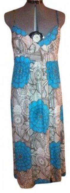 Item - Blue Dark Brown White Summer Floral Print Mid-length Casual Maxi Dress Size 10 (M)