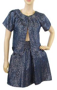 Loeffler Randall Loeffler Randall Suit - Metallic Blue Brocade Skirt Suit